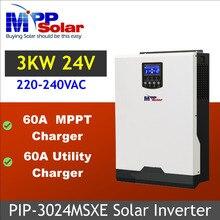 Onduleur solaire 3kva, 3000W, 24v dc, 230v ac, avec chargeur de batterie 60a, MPPT, avec chargeur de batterie 60a