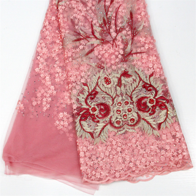 Dubai Embroidered Net Lace Fabric 5 Yards African Lace Fabrics Nigerian French Beaded Tulle Fabric X766-6Dubai Embroidered Net Lace Fabric 5 Yards African Lace Fabrics Nigerian French Beaded Tulle Fabric X766-6