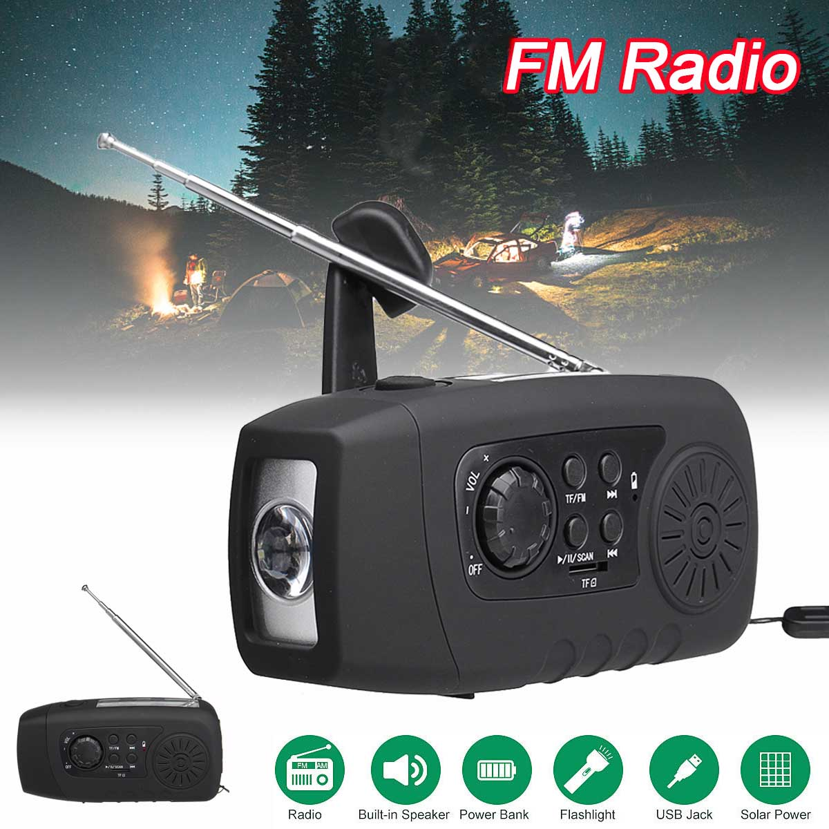 NEW Arrival 3 In 1 Solar/Crank Power FM/TF Radio LED Flashlight Emergency 2000mAh Power Bank Phone Charger Camping Tool protable am fm radio hand crank generator solar power radio with flashlight 2000mah phone charger