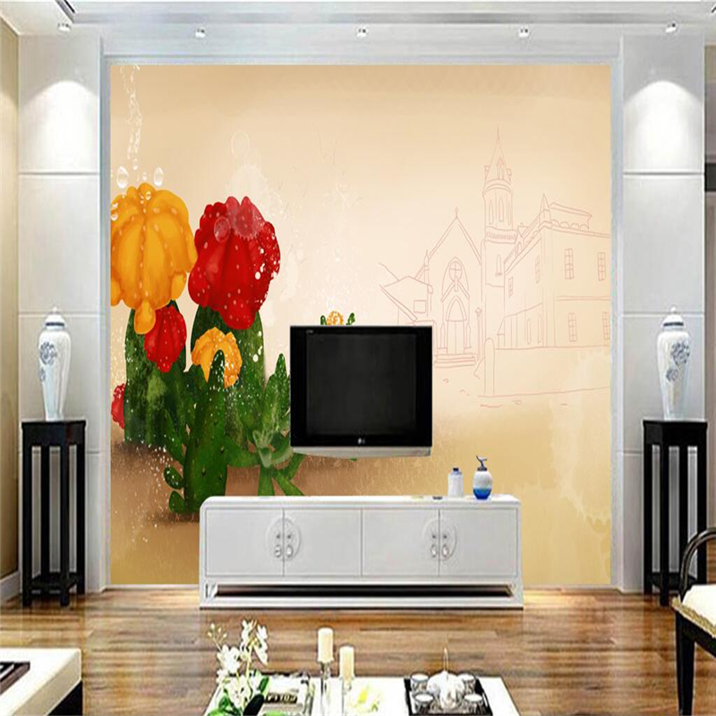 Custom Mural 3D Cute Cactus Wallpaper for Walls 3D Desert Aesthetic Wall Covering Living Room Home Decor Hand Painted Building