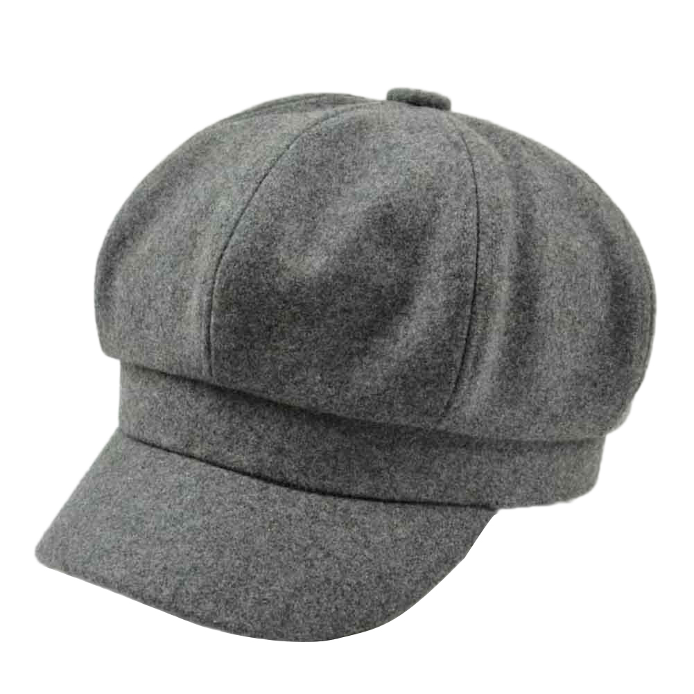 Retro Autumn Winter Women Girl Faux Wool Solid Color Peaked Cap Flat Hat Berets