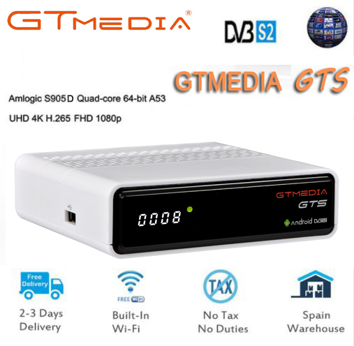 GT MEDIA GTS Android 6.0 TV Box+DVB-S2 Satellite TV Receiver H.265 HD 4K Smart TV Box Support iptv Cccam PK freesat v8 freesat hellobox gsky v7 5pcs hd powervu autoroll iks ccam dvb s2 receiver tv box better than freesat support tandberg patch
