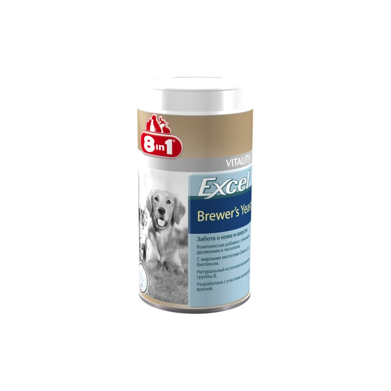 Dogs vitamins 8in1 Excel Brewer's yeast for cats and dogs 780 tab. vitality excel brewers yeast для кошек