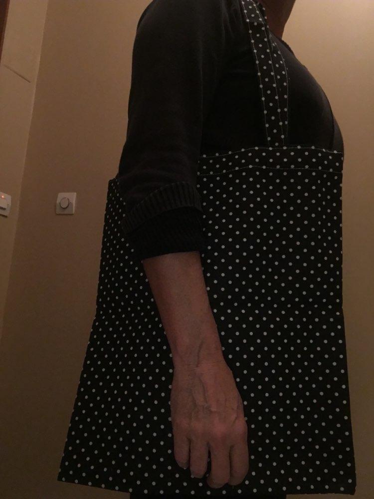 YILE Handmade Cotton Linen Eco Shopping Tote Shoulder Bag Print Dots Black Green Bottom 17224-6 photo review