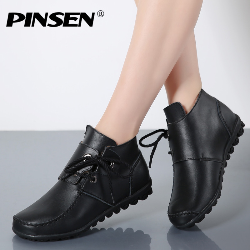 PINSEN Winter Women Flats Shoes High Top Genuine Leather Casual Shoes Woman Round Toe Warm Fur Flat Loafers For Womens Moccasins sexemara fashion handwork genuine leather real wool fur women shoes loafers peas shoes woman warm winter flats shoes