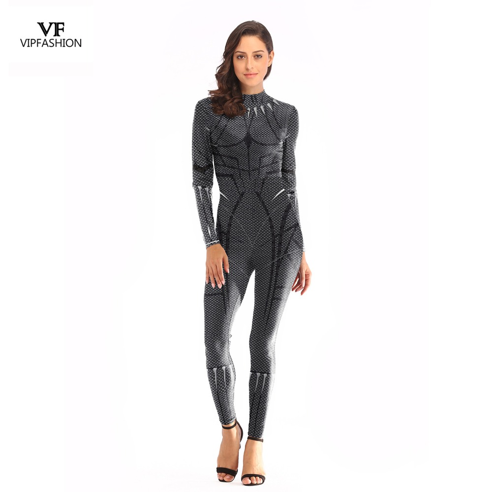 VIP FASHION New Arrival Release Cosplay Bodysuit Women 3D Avengers Super Hero Black Panther Printed Movie Long sleeve Plus Size