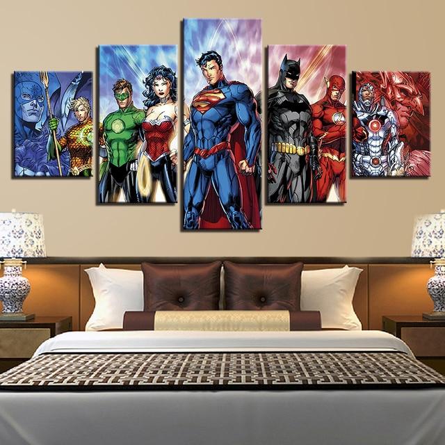 HD In Wondert Người Phụ Nữ Canvas Poster Wall Art 5 Cái Superman Tranh Đối Living Room Trang Trí Nội Thất Modular Flash Batman hình ảnh