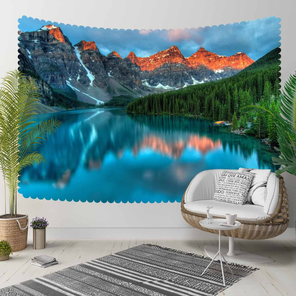 Else Blue Lake Gray Mountain Green Trees Nature 3D Print Decorative Hippi Bohemian Wall Hanging Landscape Tapestry Wall Art