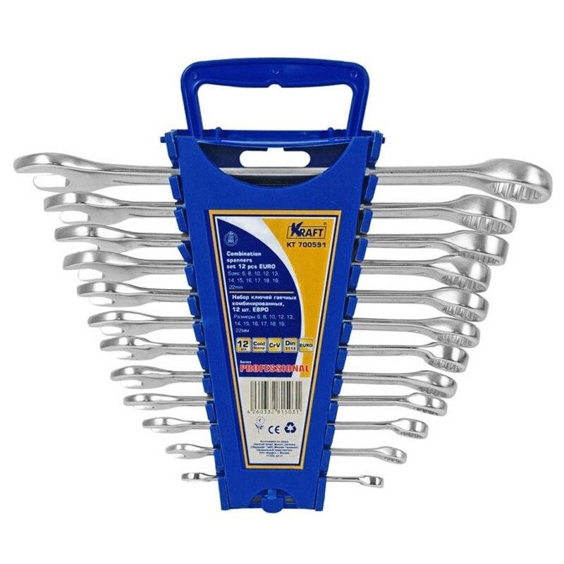 Wrench set KRAFT CT 700590 pro skit 8pk 02730 in 1 sae6150 metric inch combination hex key wrench set black