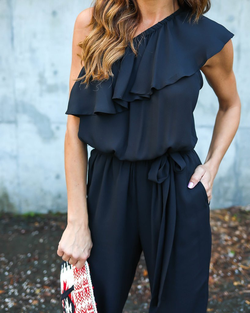 Ruffles Chiffon Jumpsuits Plus Size Overalls Summer Women Sexy Casual One Shoulder Long Playsuits Rompers Womens Jumpsuit