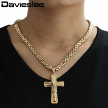 Christian Jewelry Cross Pendant Necklaces Thick Link Byzantine Chain Stainless Steel