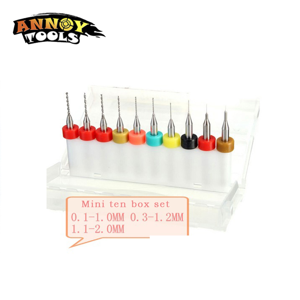 10Pcs/Set 0.1-2.0mm PCB Engraving Mini Twist Drill Bit Set Carpenter Woodworking Drill Set Bit