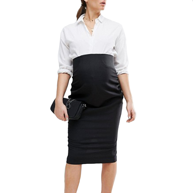 Plus Size 2018 Pregnant Women Knee-length Skirts Casual Elastic High Waist Solid Bodycon Black Split Skirts Maternity Clothings