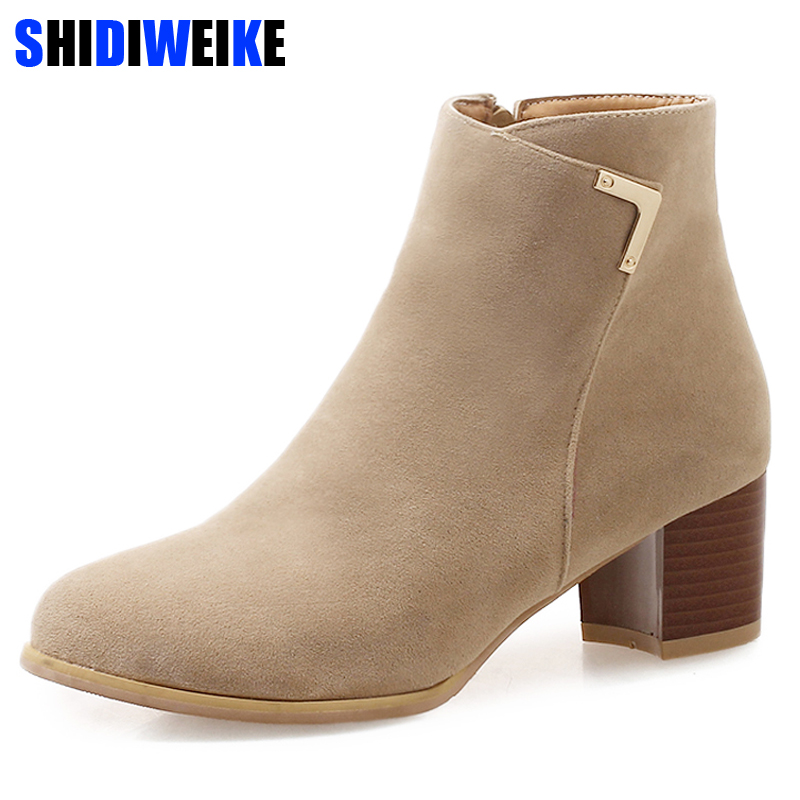 цена Plus Size Fashion Women Flock Ankle Boots Female Flock Zipper Thick Heel Shoes Ladies High Heels Square Heel N076 в интернет-магазинах