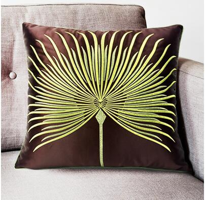 40x40cm Green Plant Embroidered Brown Cushion Cover Sofa Waist Simple Green Brown Decorative Pillows