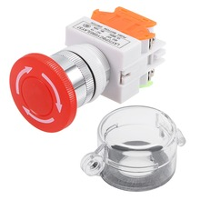 цена на UXCELL 22mm Switches Mounting Hole Latching Emergency Stop Push Button Switch With Waterproof Cover 1NO 1NC Switch Accessories