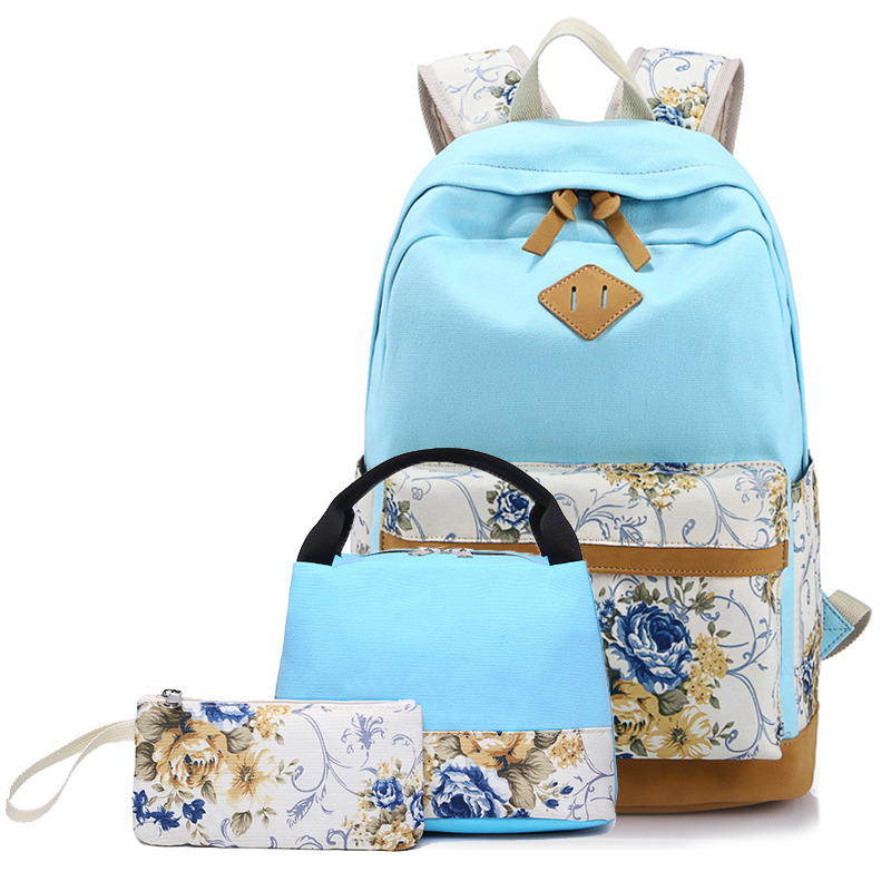 Spot canvas Adult teen backpack female Korean version of pastoral wind  backpack three piece  set student bag wholesale retail-in Backpacks from  Luggage ... 7e9aedfca5ca5