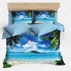Innego 6 sztuka tropikalny niebieski niebo palmy na plaży 3D druku bawełna satynowa podwójna poszewka na kołdrę zestaw poszewka na poduszkę łóżko arkusz w Kołdra od Dom i ogród na