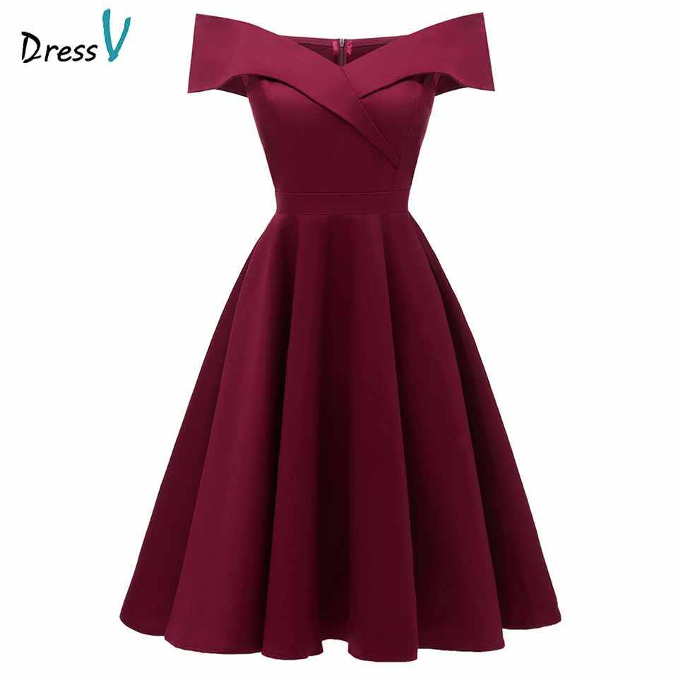 ebc6b312bff Dressv burgundy cocktail dress cheap off the shoulder short sleeves  graduation party dress elegant fashion cocktail