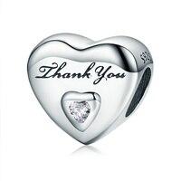 FANSER Thank You S925 Sterling Silver Diamond Thread Beads DIY Sterling Silver Beads Collocation Style Bracelet