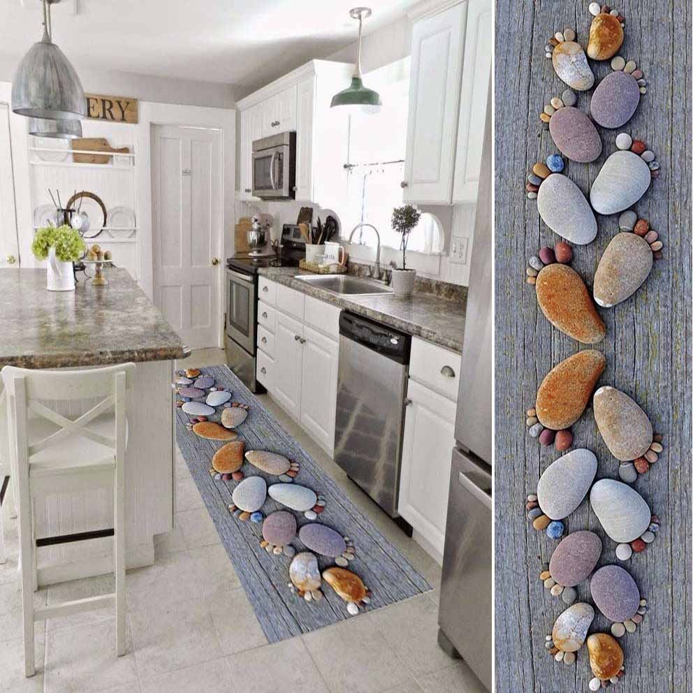 Else Gray Tree Wood On Brown Pebble Stones  3d Print Non Slip Microfiber Washable Long Runner Mat Kitchen Rugs Hallway Carpets