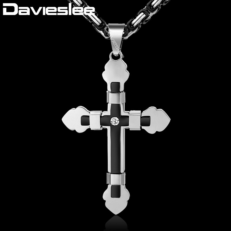 Davieslee Rhinestone Cross Pendant Necklace for Men Gold Silver Black Stainless Steel Chain Women's DKF10 цена