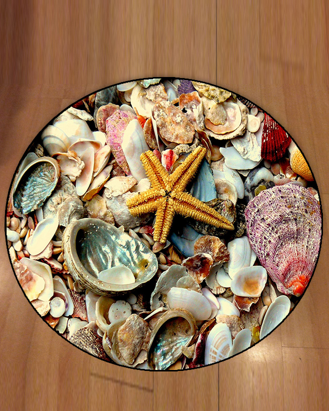 Else Tropical Green Red Sea Shells Yellow Sea Stars 3d Print Anti Slip Back Round Carpets Area Rug For Living Rooms Bathroom