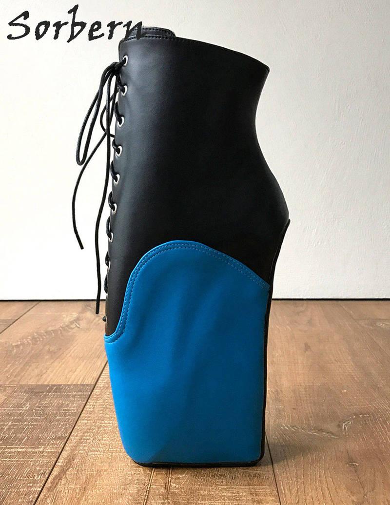 Para Blue Colors Tacón custom Mujeres Black Sin Cuña Multi Talones Alta Azul Señaló Ballet Fetiche Casco Mate Negro Color Unisex Sorbern Zapatos Botas wBSRqI