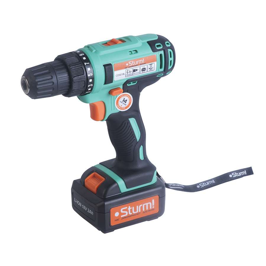 Cordless Drill/Driver Sturm! CD3218L wosai 20v lithium battery max torque 380n m 4 0ah brushless electric impact wrench diy cordless drill cordless wrench