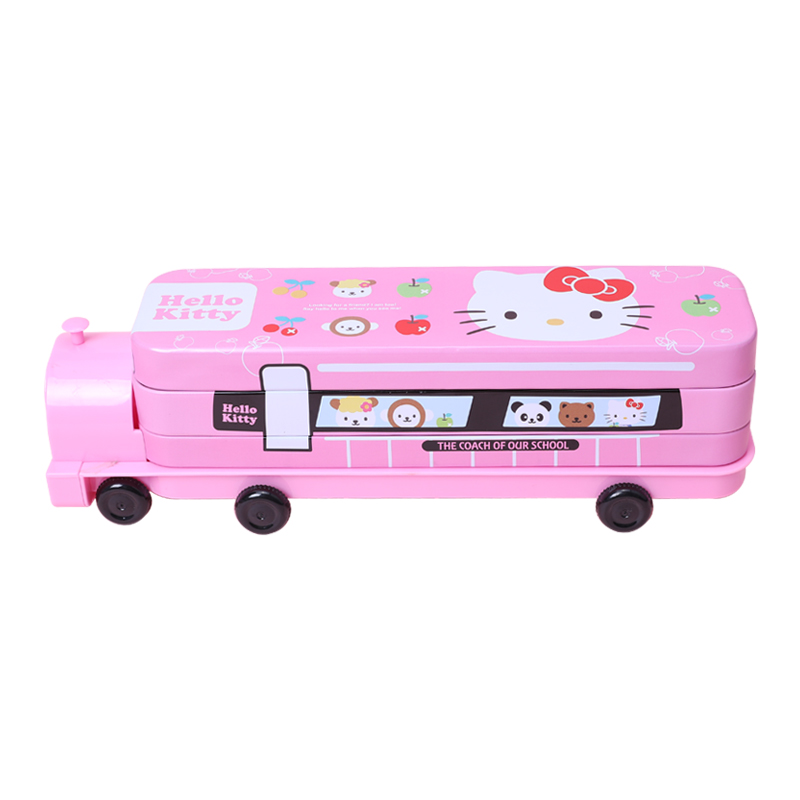 Pencil Case Hello Kitty Train Shaped Stationery Case School Supplier Multi-layer Pencilcase For Kids