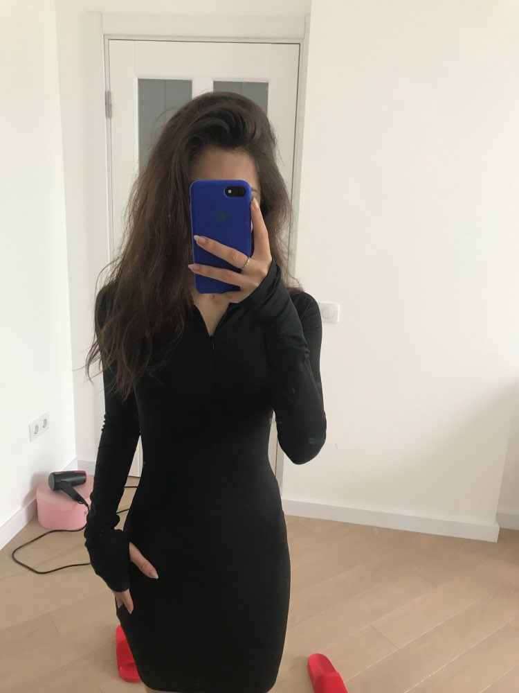 Solid Long Sleeve High Neck Zipper High Waist Bodycon Sexy Stretchy Dresses Autumn Winter Women Fashion Casual Set photo review