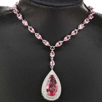 2018 New Arrival Drop Pink Morganites White CZ 925 Silver Necklace 18 19inch 32x18mm