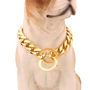 Collar Link Pet-Jewelry Dog-Gold-Chain Cuban 316l-Stainless-Steel 13mm Double-Curb Wholesale