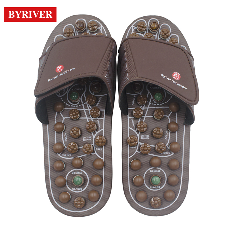 цена BYRIVER Real Jade Stone Foot Massager Slippers Sandals Reflexology Shoes Relief Plantar Faciitis Arch Pain Arthritis Tools Gifts