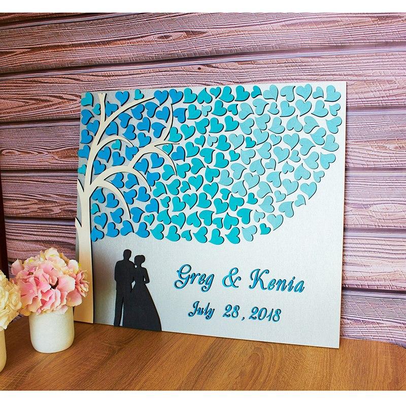Unique mariage livre d'or rustique personnalisé livre d'or arbre avec coeur en bois mariée et marié livres d'or idées cadeau de mariage