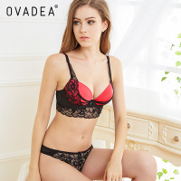 Ovadea Padded Push Up Bra Set Top Sexy Lace Bra Panties Plus Size Elegant Embroidery Floral