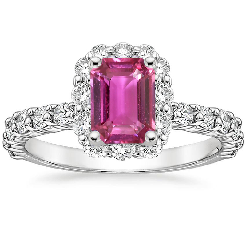ANI 18K White Gold (AU750) Women Wedding Ring Certified Natural Pink Sapphire Oval/Rectangle Shape Engagement Diamond Halo Ring au750 white gold ring diamond oval cut sapphire ring in 18k solid gold for sale wu261