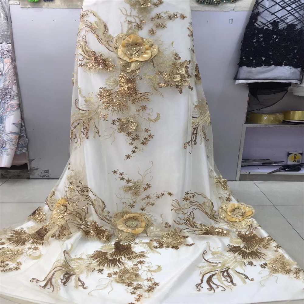 Bridal Nigerian Wedding Lace Materials 3D Lace Fabric High Quality 2019 African Lace Fabric On Sale Beads Lace Fabric Golded K37