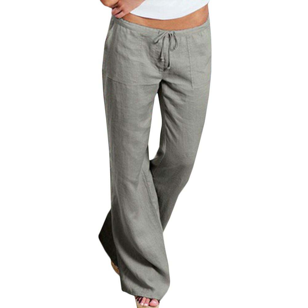 Simple Womenu0026#39;s LINEN PANTS Straight Leg Drawstring Waist Casual Comfortable S M L | EBay