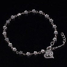 Retro Tibetan silver hollow silver plum flowers foot ornaments peach heart shaped anklet bracelet