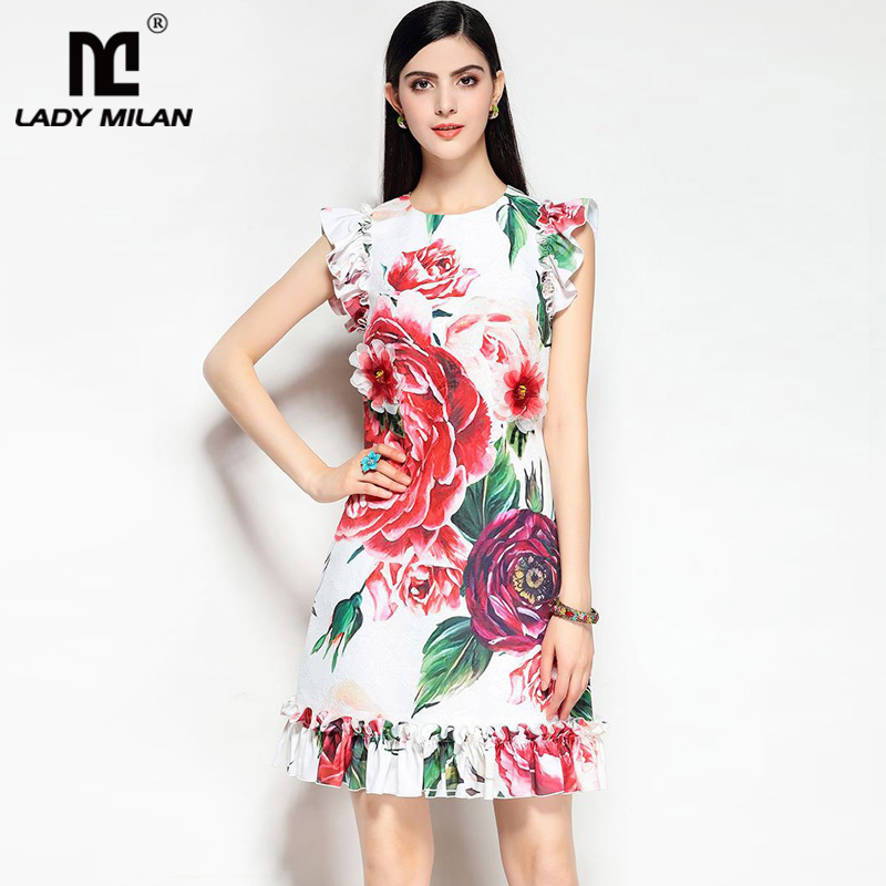Lady Milan 2018 Womens O Neck Sleeveless Floral Printed Ruffles Appliques Dobby High Street Fashion Short Summer Runway Dresses