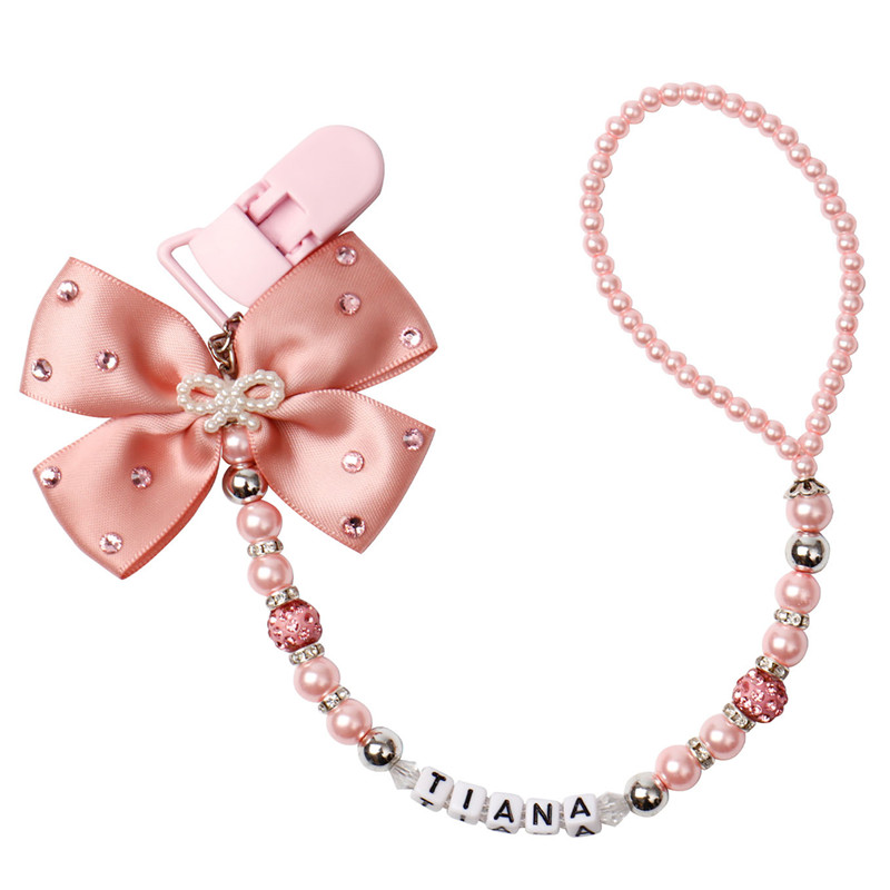 MIYOCAR 2017 New Hand Made Luxurious Bow Pink And Sliver Beads Dummy Clip Holder Pacifier Clips Holder/Teethers Clip For Baby