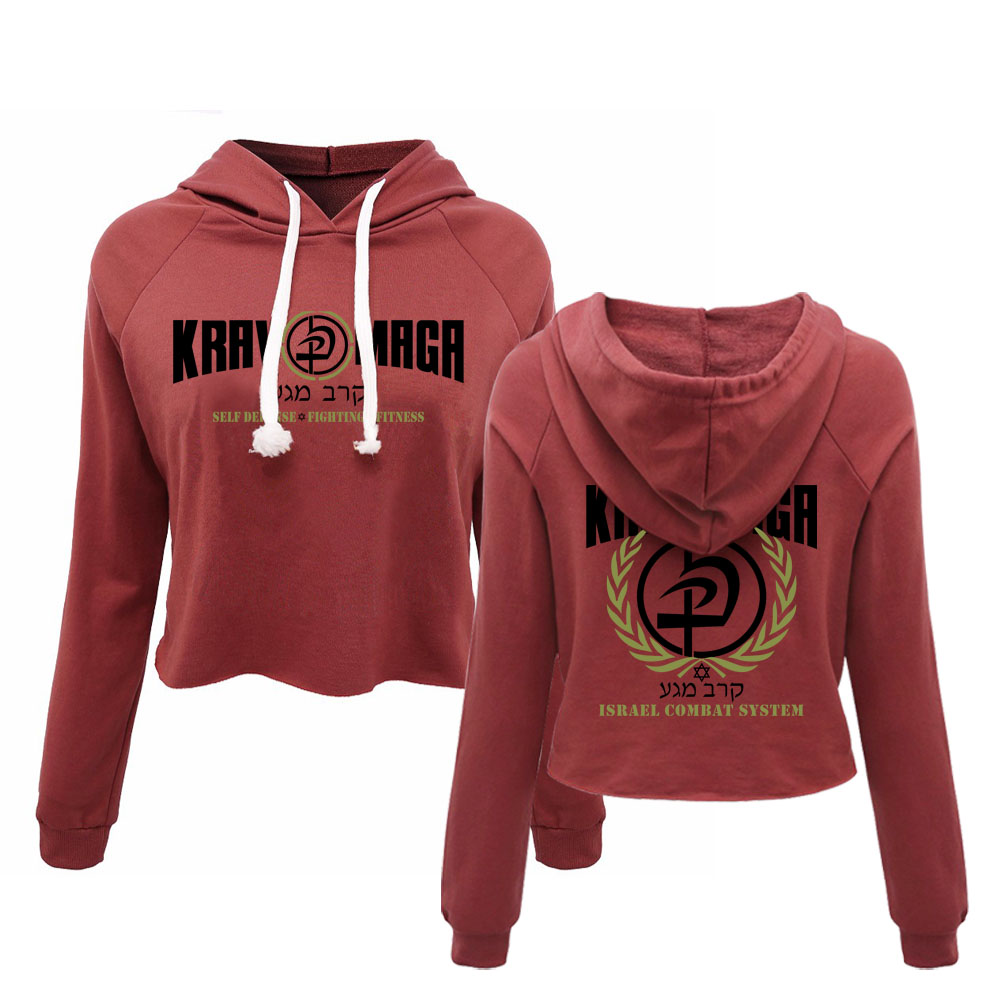 New Krav Maga Israel Combat System Self Defense IDF Womens Hooded Cropped Hoodies Sweatshirt Fashion Autumn Spring Tops