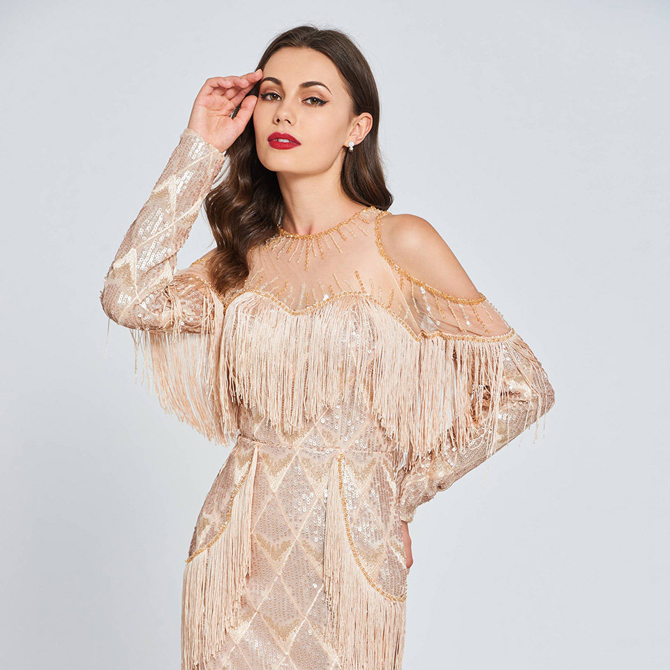 Dressv beading lace cocktail dress sequins long sleeves tassel wedding  party evening formal dress coctail dresses cutomade 3 4 5 6 7 8 2300266b7579