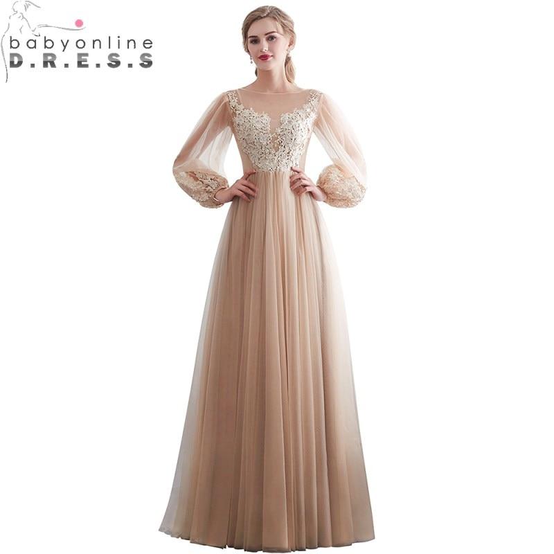 Elegant Scoop Full Sleeve Appliques A Line   Prom     Dresses   Soft Tulle Zipper Back Illusion Formal Party Gown Vestido De Festa