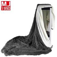 Velvet Mink Blanket Winter Thicken Warm Super Soft Coral Fleece Solid Yarn Dyed Knitted Thread Blankets On Bed 200*230/220*240cm