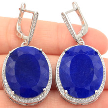 Big Oval 22x18mm Heavy 17.5g Real Blue Sapphire White CZ Woman's Party Silver Earrings 40x20mm
