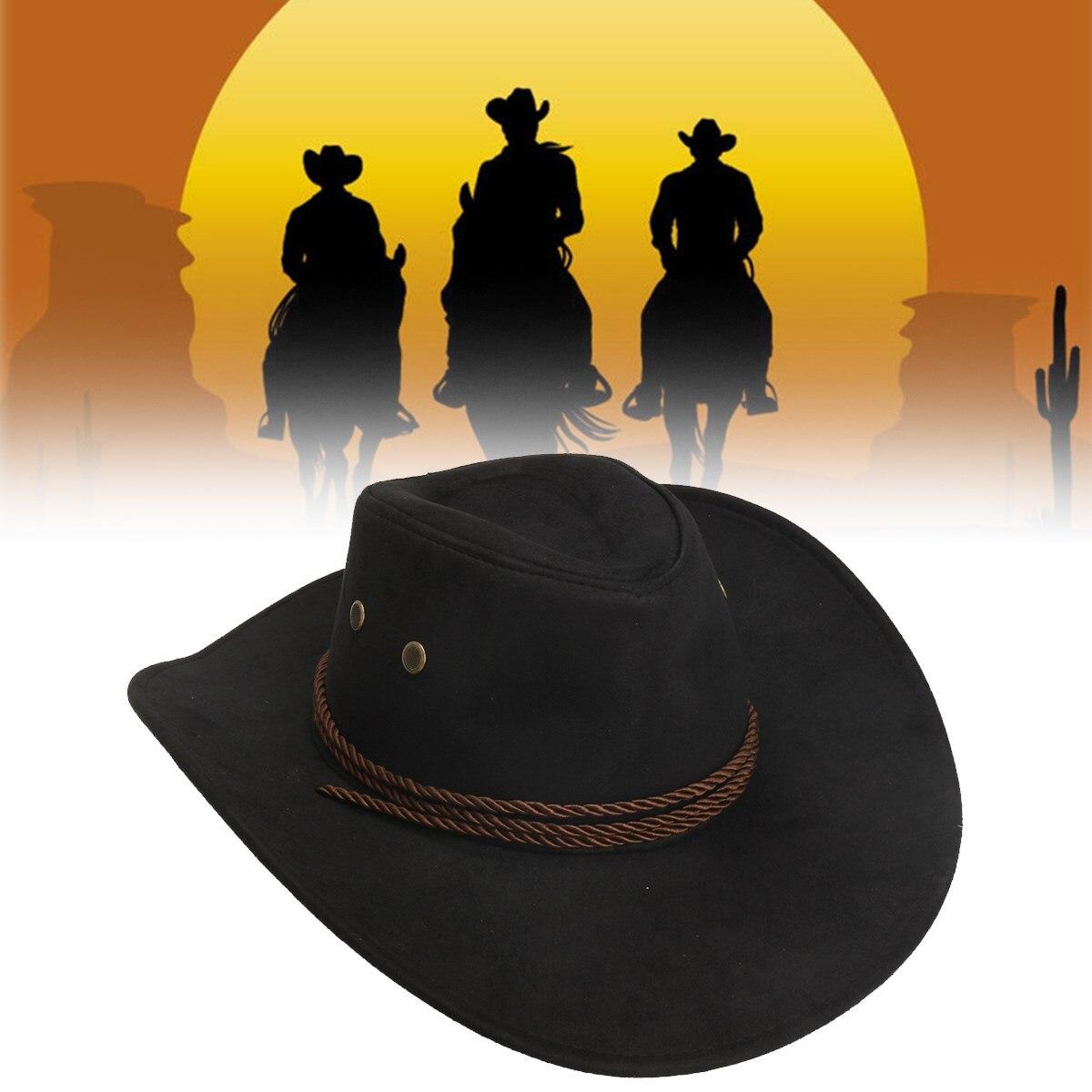 Frauen Männer Western Cowboy Hut Unisex Reit Cap Zubehör Mode Breiter Krempe Jazz Kappe Faux Leder Einstellbare Sun Hut Unisex kappen