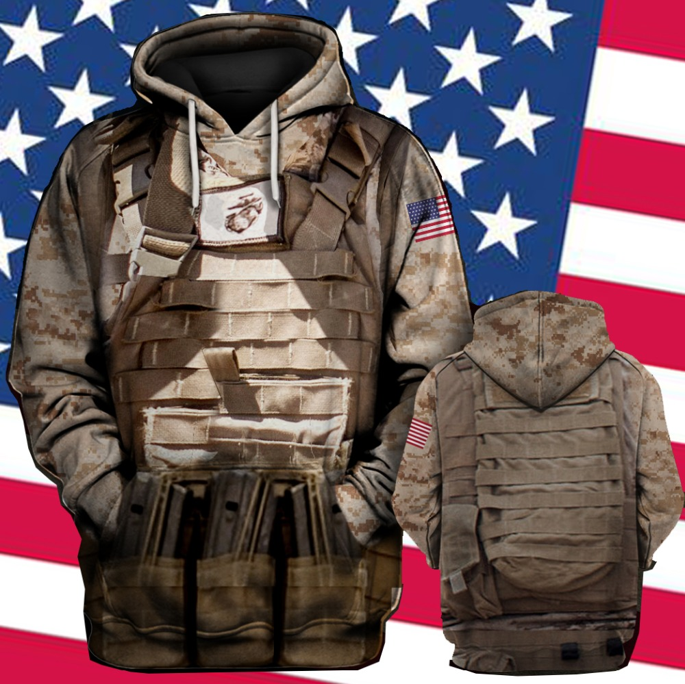 3D Print US Marines Camouflage Cosplay Mens Hoodies Sweatshirt Men Autumn Spring Tracksuit Pullover Plus US Size
