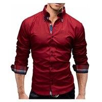 Men S Shirt Brand 2017 Male Autumn Long Sleeve Shirts Casual Hit Color Dress Shirt Slim